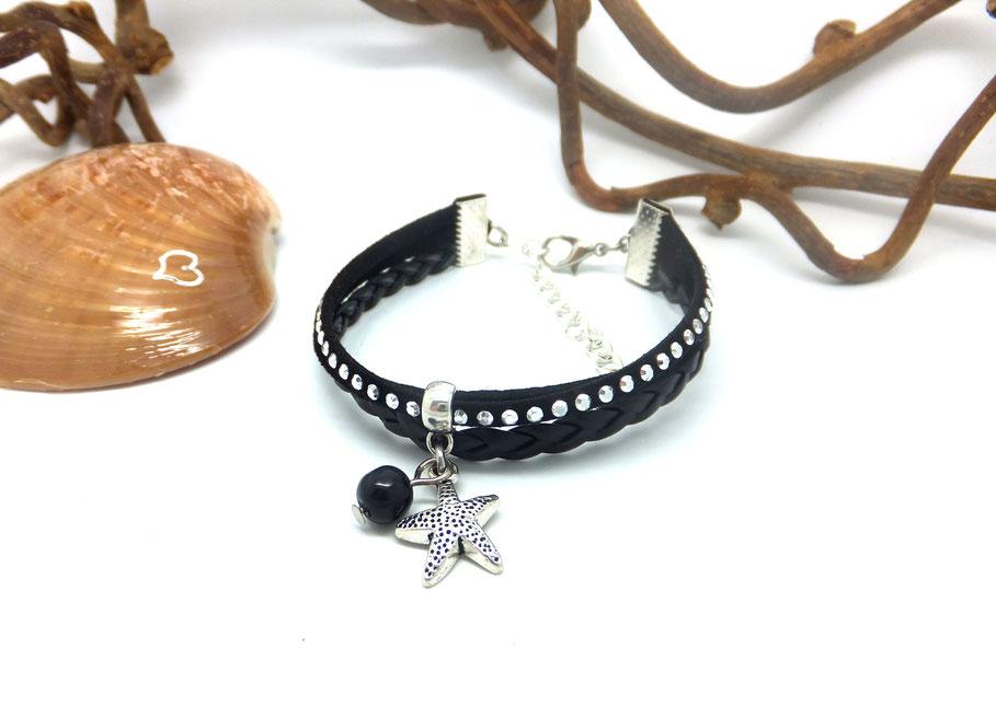 WAI-Bracelet mini manchette, bracelet ETOILE, bracelet plage, bracelet fait main