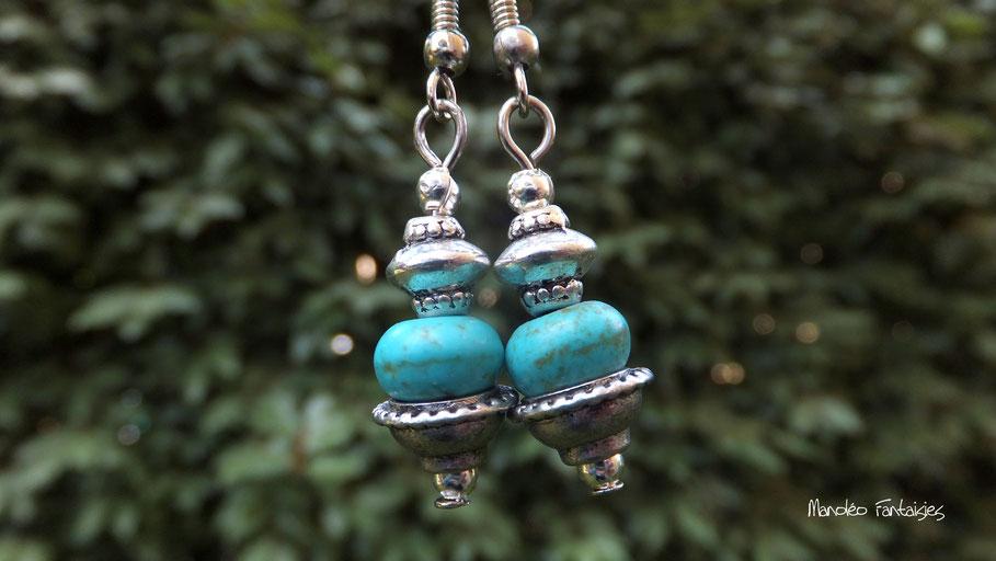 Boucles d'oreilles ESMA turquoise