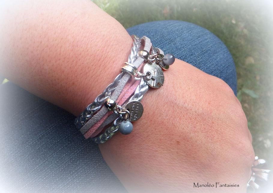 ROMANCE - Bracelet manchette, bracelet deux tours, bracelet étoiles, bracelet coeur, bracelet rose et gris, bracelet argent, bracelet fait main