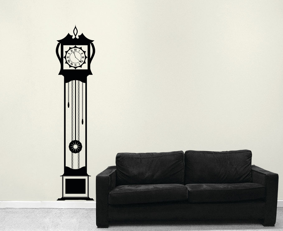 Detailed Grandfather Clock vinyl wall art sticker, in three sizes. Many colours available from wallartcompany.co.uk