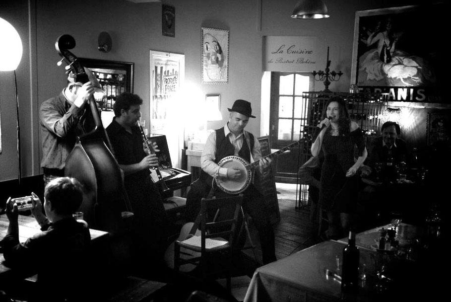 Nicolas Dubouchet (contrebasse), Jérôme Gatuis (clarinette) et Geoffroy Boizard (banjo) - Photo:© Loïc Nogues