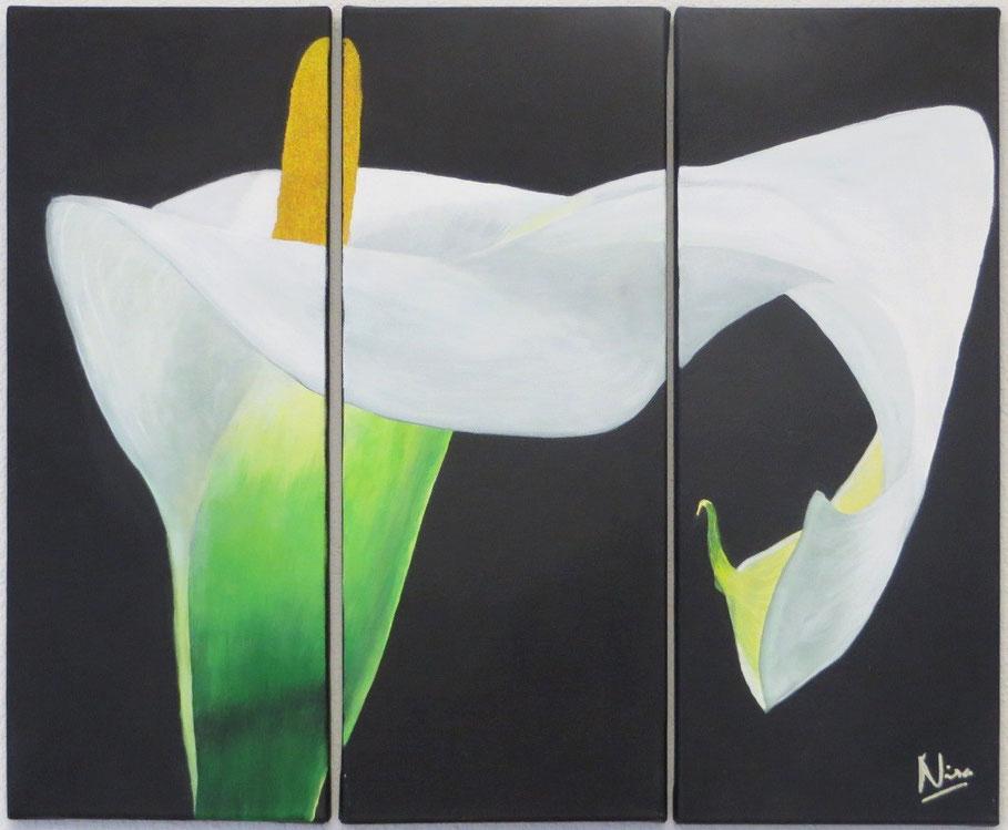Calla, Bild in drei Einzelbildern, Grösse alle zusammen: 59 x 50 cm, Acryl, CHF 820.--