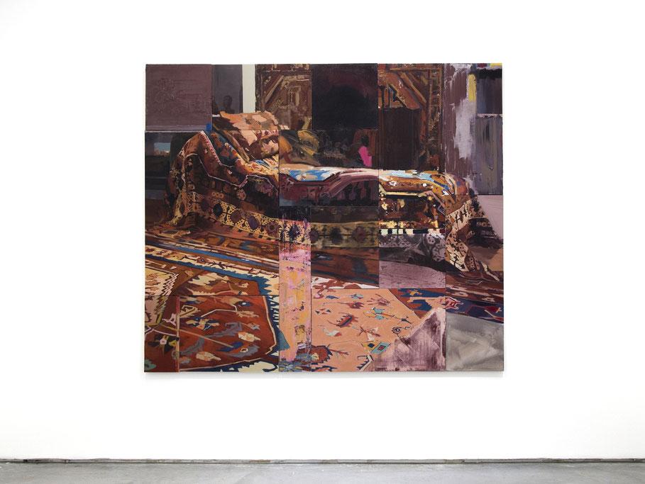 En lo oculto. Oil on linen. 186 x 214 cm. 2018
