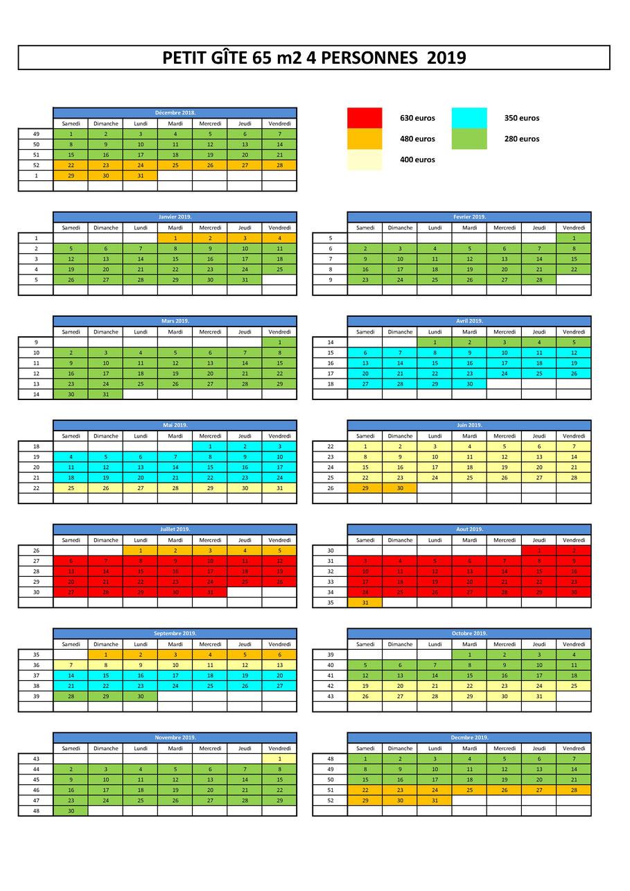 planning d'occupation et tarif gîte BREIZH EVASION 4 personnes 2018