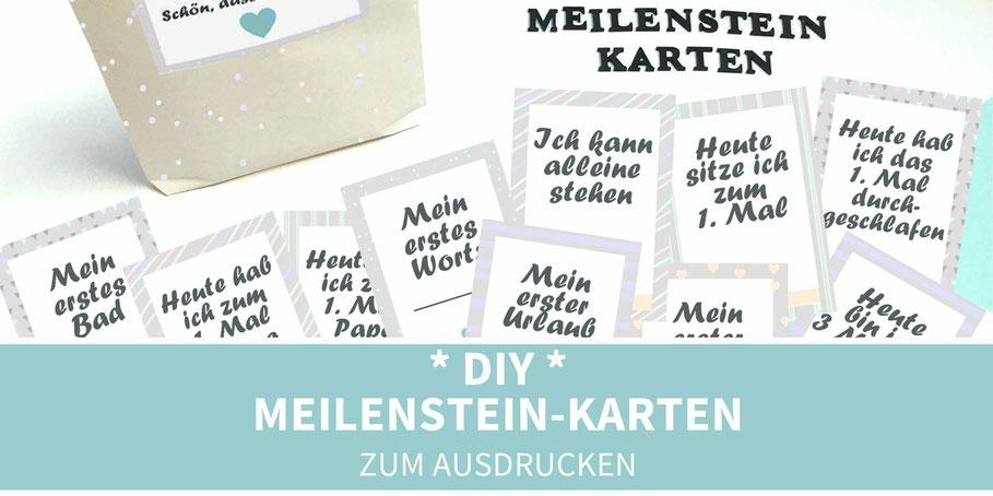 diy, basteln, Karten, Meilensteine, Meilensteinkarten, Geburt, Geschenk zur Geburt, ausdrucken, Printable, Baby, Geschenk Baby