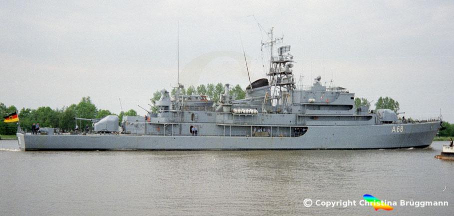 Bundesmarine Tender WERRA (A 68), Nord-Ostsee Kanal 1989