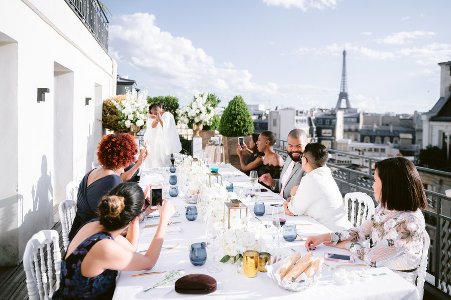 private celebration in Paris, intimate rooftop party in Paris