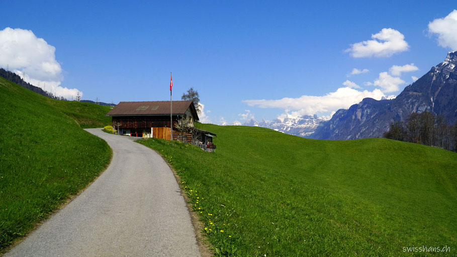 Wiese, Strasse mit Haus vor den Bergen mit blauem Himmel auf dem Pfarrer-Künzle-Weg Vilters-Wangs