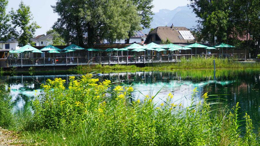 Fischteich und Terrasse im Angelparadies Güfel in Meiningen