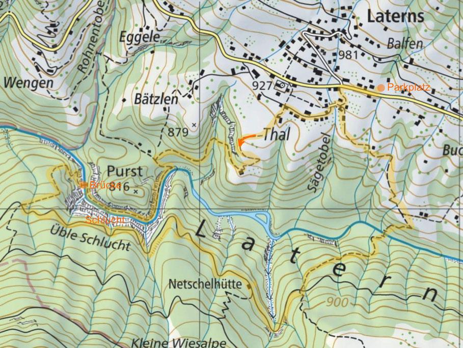 Karte von schweizmobil.ch mit der Wanderroute