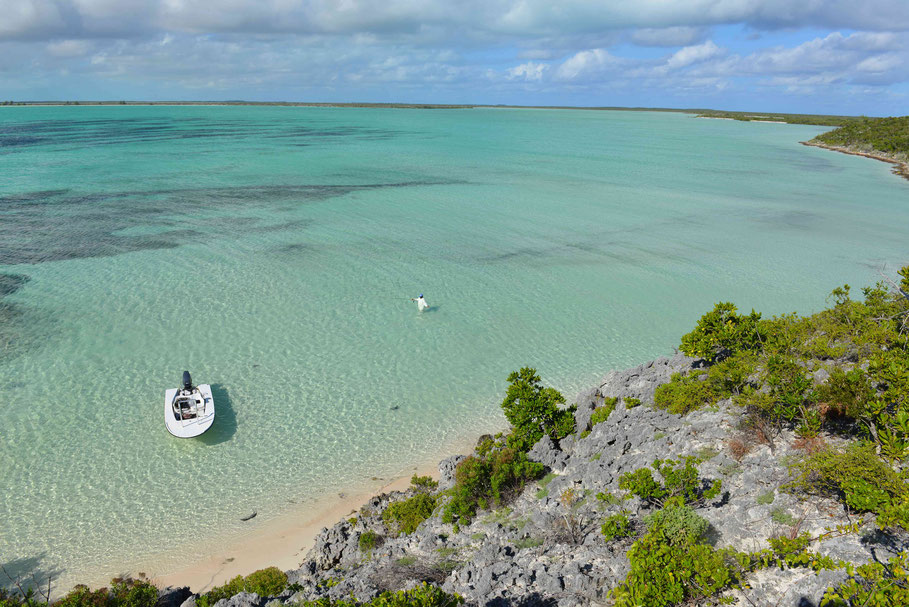 Fly fish Bahamas, FFTC.club saltwater destination, Crooked Island and Acklins, Skiff and Fly fishermen, Fly fish saltwater adventure for bonefish, permit, triggerfish, sharks, jacks, barracuda.