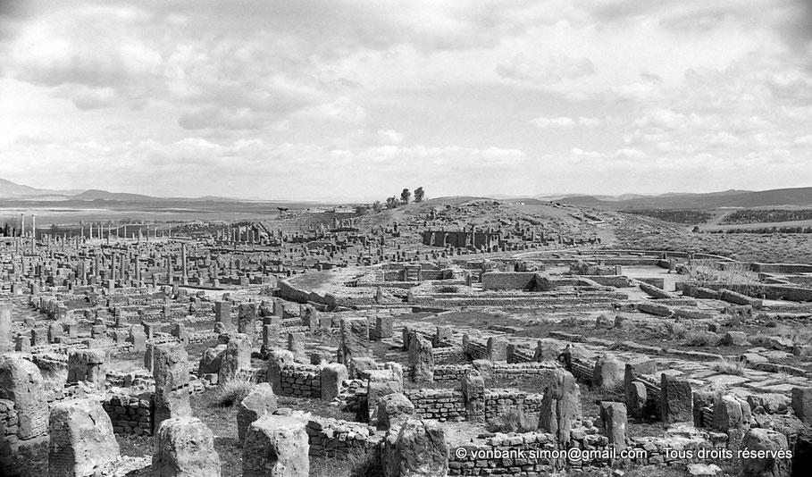 Timgad (Thamugadi) : Au premier plan, le quartier artisanal, puis les grands thermes du Sud, puis le théâtre