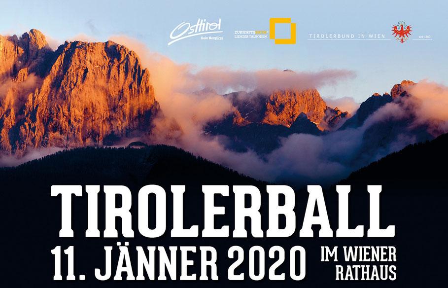 AUFAufmacherbild zum Tirolerball 2020 am 11. Jänner 2020 im Rathaus Wien. Es zeigt die Lienzer Dolomiten mit dem Tirolerball Schriftzug.
