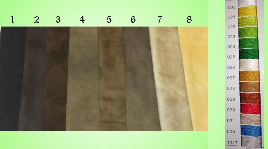 Leder- und Garnfarben zur Auswahl