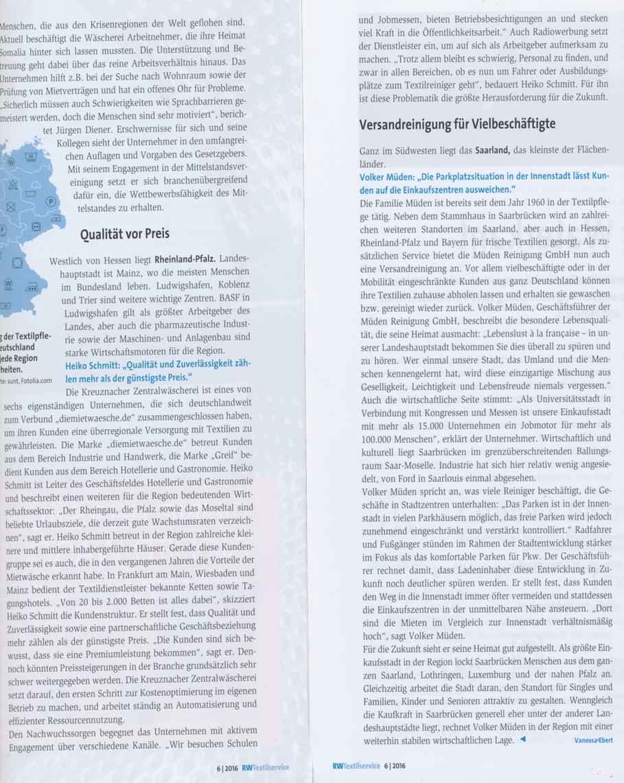 BLOG, Pressebericht RW-Textilservice Seite 2 nur Text