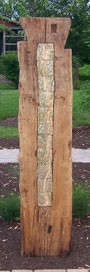 Labyrinth Beam with tree bark textured ceramic tile, Harleysville, PA