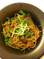 牡蠣と水菜の梅サラダうどん
