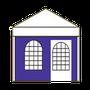 Seitenwand mit Bogen-Fenster und Tür