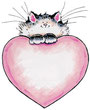 chaton mignon sur un coeur rose