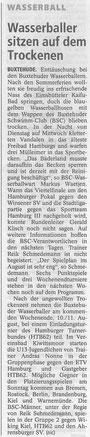 Wassserballer sitzen auf dem Trockenen, Buxtehuder Tageblatt vom 09.09.2013