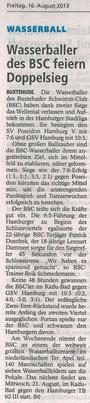 Wasserballer des BSC feiern Doppelsieg. Buxtehuder Tageblatt vom 16.08.2013