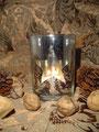 Teelichtglas, Windlicht, Weihnachten, Dekoration, shabby chic, Landhausdekoration