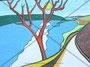 Twann mit St. Petersinsel  Originalgrösse BxH = 42x29.7 cm  Neocolor auf Papier