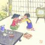 和風カレンダー10月 茶の間で綾取りをする昭和の女の子 墨彩画