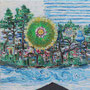 """Permafrost Corona""  | 2020 | Oil, vinyl, acrylic on linen | 12 x 12 in (30 x 30 cm)"