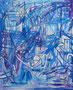 """100x81  """"Bleues marines"""" acrylique sur châssis entoilé 2011"""