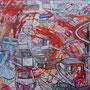 """80x80   """"Eclats marins"""" acrylique sur châssis entoilé 2011"""