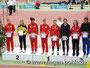 Von links nach rechts: Charlyne Czychy, Laura Schröter (LG Vogtland - Platz 2 in 14:59,09 min), Charlotte Kobus, Maxi Woelke, Romy Günther, Justin Wendt, Franziska Glandorf, Victoria Dietsch.