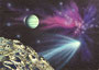 Komet, 30x40, Acryl, Gouache (Airbruchmischtechnik) auf Papier