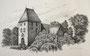 Dorfkirche (Schönfeld), 30x40, Tuschestift auf Papier