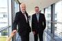 Wirtschaftsminister Garrelt Duin besucht die Firma Gira in Radevormwald. Wirtschaftsminister Garrelt Duin (links) & der technische Geschäftsführer Oliver Bormann von Gira