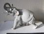Слон серый малый, 1954 г. Б.Я Воробьев. Подглазурная монохромная  роспись, высота 21см. Марка: ЛФЗ  зеленая, синяя 2с.