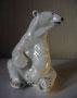 Белый медведь сидящий 1949г. Б.Я Воробьев. Роспись надглазурная полихромная, высота 18 см. Марка: ЛФЗ черная.