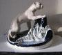 Пантера Дулево, 1950 - 60 г. Автор: Кожин П. М. Роспись подглазурная солями. Марка: б/марки, выс. 21.5 см, Дл. 23 см