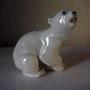 Белый медвежонок 1956г. Б.Я Воробьев. Роспись подглазурная монохромная, высота 11 см. Марка: ЛФЗкрасная, надпись в/с, ц. 1-65