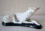 Левретка 1937-1939 гг. Б.Я Воробьев. Роспись надглазурная , длина 16,5 см. Марка: ЛФЗ черная