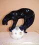 Пантера на шаре Фарфоровый завод «Пролетарий», 1950- 60-е гг. Автор  С.И. Ванштейн- Машурина  Роспись подглазурная позолота,  высота 22  см. Марка: синяя, 2с. Подписана автором в 2011 году Экспонировался на выставке «Бестиарий 2011»