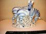 Зебры Фарфоровый завод «Пролетарий», Новгород, 1955 г. Автор  С.И. Ванштейн- Машурина Роспись подглазурная,  высота  16,5  см. Марка: зеленая. Подписана автором в 2011 году Экспонировался на выставке «Бестиарий 2011»