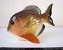 Рыба 1978 г. П.П.Веселов. Роспись подглазурная полихромная, высота  8 см. Марка: ЛФЗ красная.