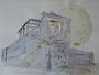 """""""Общежитие или полная луна"""", 2007, бумага, граф. карандаш, акварель, 42x59,5 cm"""