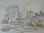 """""""Городок художника"""", 2007, бумага, граф. карандаш, акварель, 42x59,5 cm"""