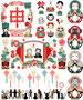 2016年申年年賀状用イラストカットデザイン素材集(和風色々)赤系