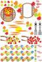 【秋】秋用和風イラストカットデザインイメージ素材集(楓・灯篭・赤蜻蛉・和風丸窓枠)