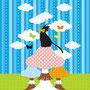 【壁紙】「猫とキノコと蝶」iPad用壁紙(Retinaディスプレイ対応2048×2048PNG)