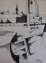 Port étude, env. 1950 (dessin à l'encre, 33 x 25 cm, coll. part. MAM)