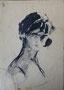 Portrait de jeune fille, env. 1950 (crayon, encre, 18 x 27 cm, coll. part. MR)